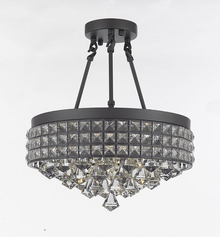Semi Flush Mount French Empire Crystal Chandelier Chandeliers Lighting Ht 17 X Wd 15 4 Lights Crystal Iron Metal Shade Rustic Modern - 26003/4