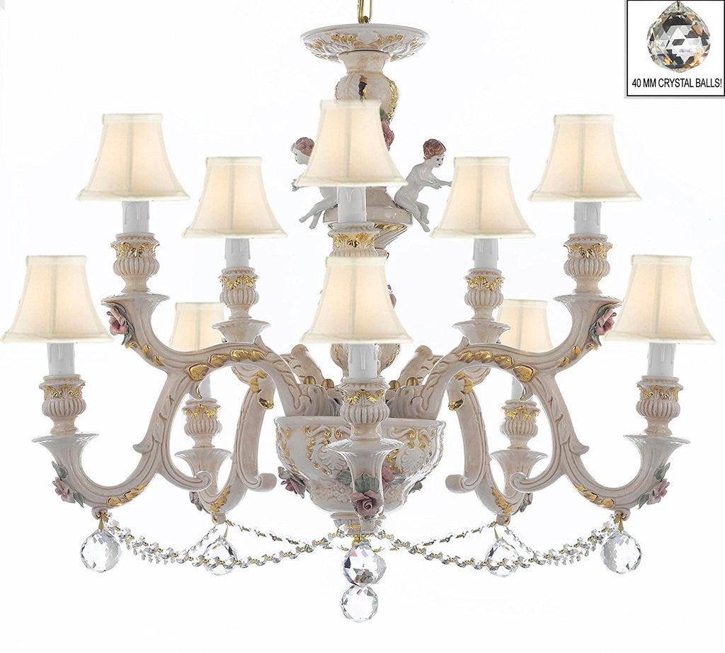 Authentic Capodimonte Porcelain Chandelier Lighting Chandeliers Cottage Chic Made in Italy, Trimmed w/ Roses & Flowers Dressed w/ Crystals and Crystals Balls With White Shades - GB102-SC/WHITESHADES/B6/B52/227/5+5