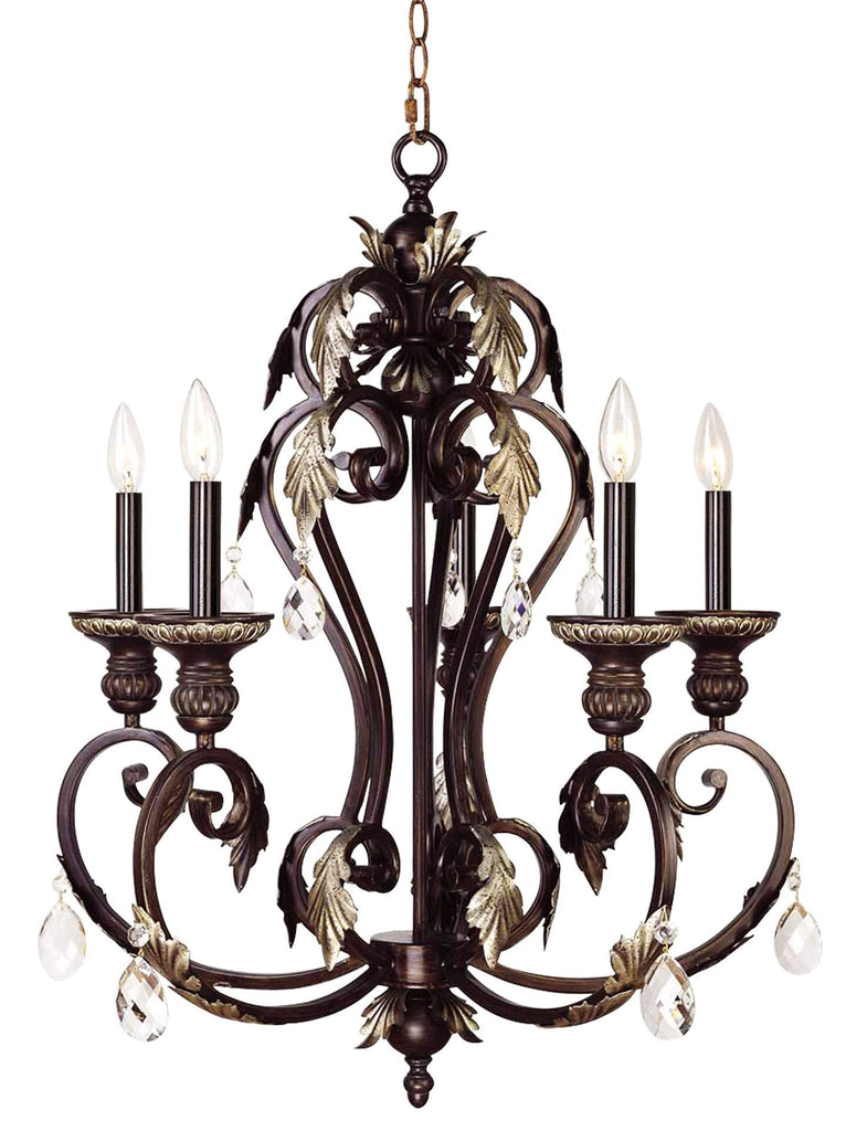 Livex Iron & Crystal 5 Light HRB Chandelier - C185-8155-40