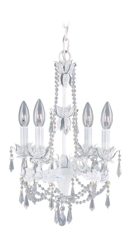 Livex Athena 4 Light Antique White Mini Chandelier - C185-8184-60