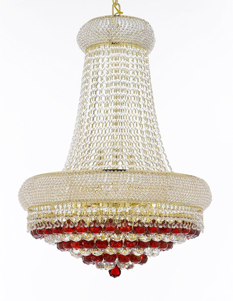 "Swarovski Crystal Trimmed Moroccan Style French Empire Crystal Chandelier Chandeliers H32"" X W24"" Dressed with Ruby Red Crystal Balls - Good for Dining Room, Foyer, Entryway, Family Room and More - F93-B96/CG/542/15SW"