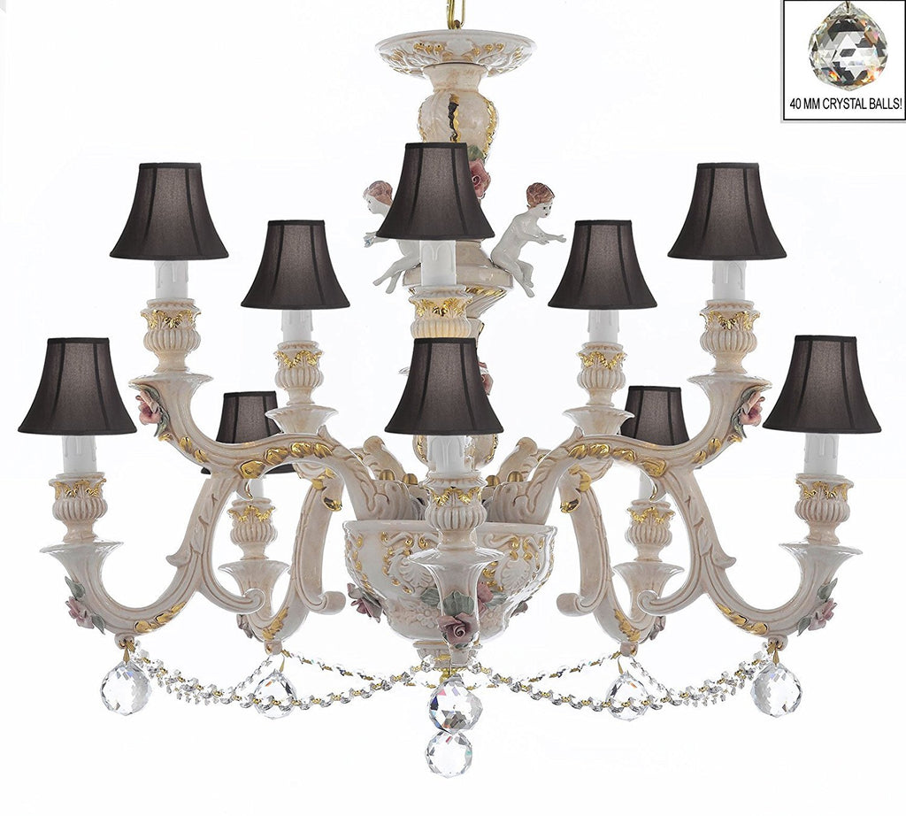 Authentic Capodimonte Porcelain Chandelier Lighting Chandeliers Cottage Chic Made in Italy, Trimmed w/ Roses & Flowers Dressed w/ Crystals and Crystals Balls With Black Shades - GB102-SC/BLACKSHADES/B6/B52/227/5+5