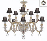 Authentic Capodimonte Porcelain Chandelier Lighting Chandeliers Cottage Chic Made in Italy, Trimmed w/ Roses & Flowers Dressed w/ Crystals Balls With Black Shades - GB102-SC/BLACKSHADES/B6/227/5+5