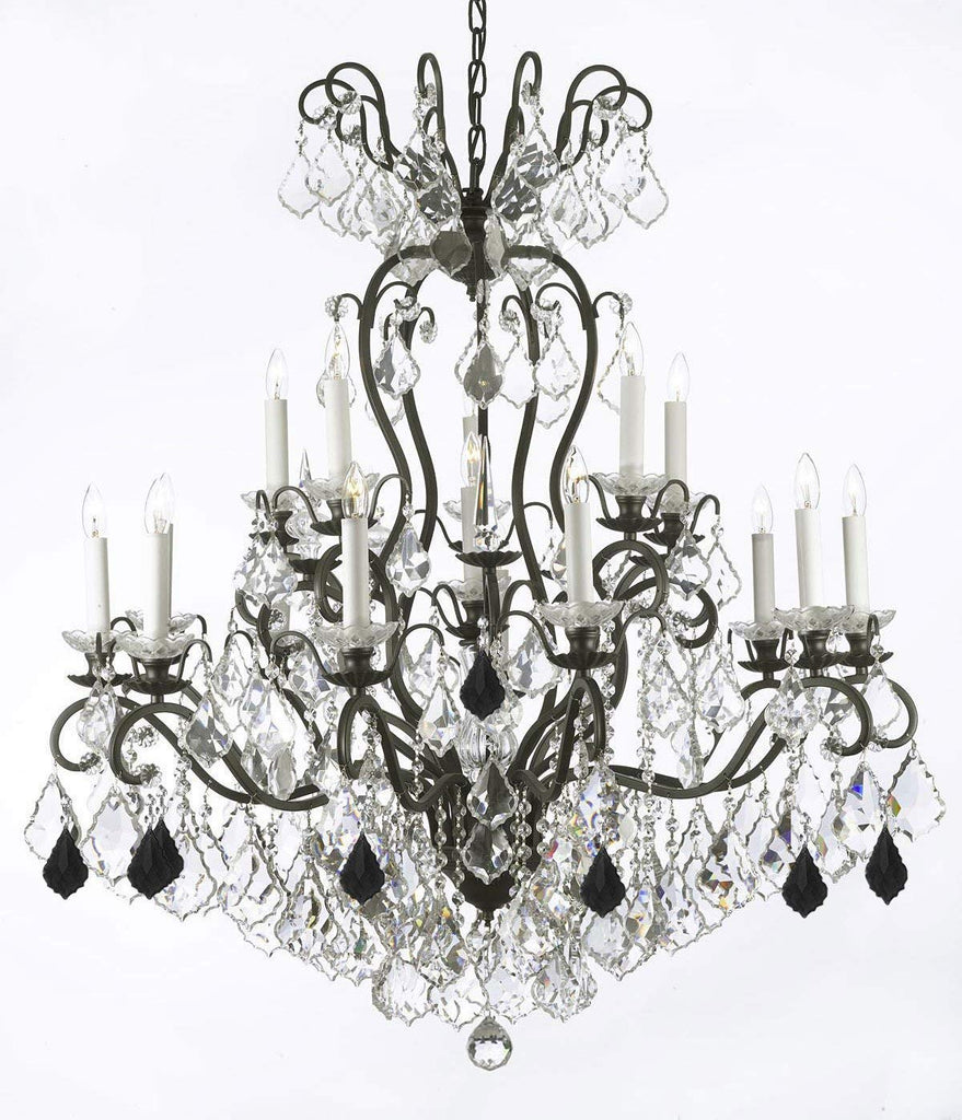 "Wrought Iron Crystal Chandelier Lighting Dressed with Jet Black Crystals W38"" H44"" - Great for the Dining Room, Foyer, Entry Way, Living Room - F83-B97/556/16"