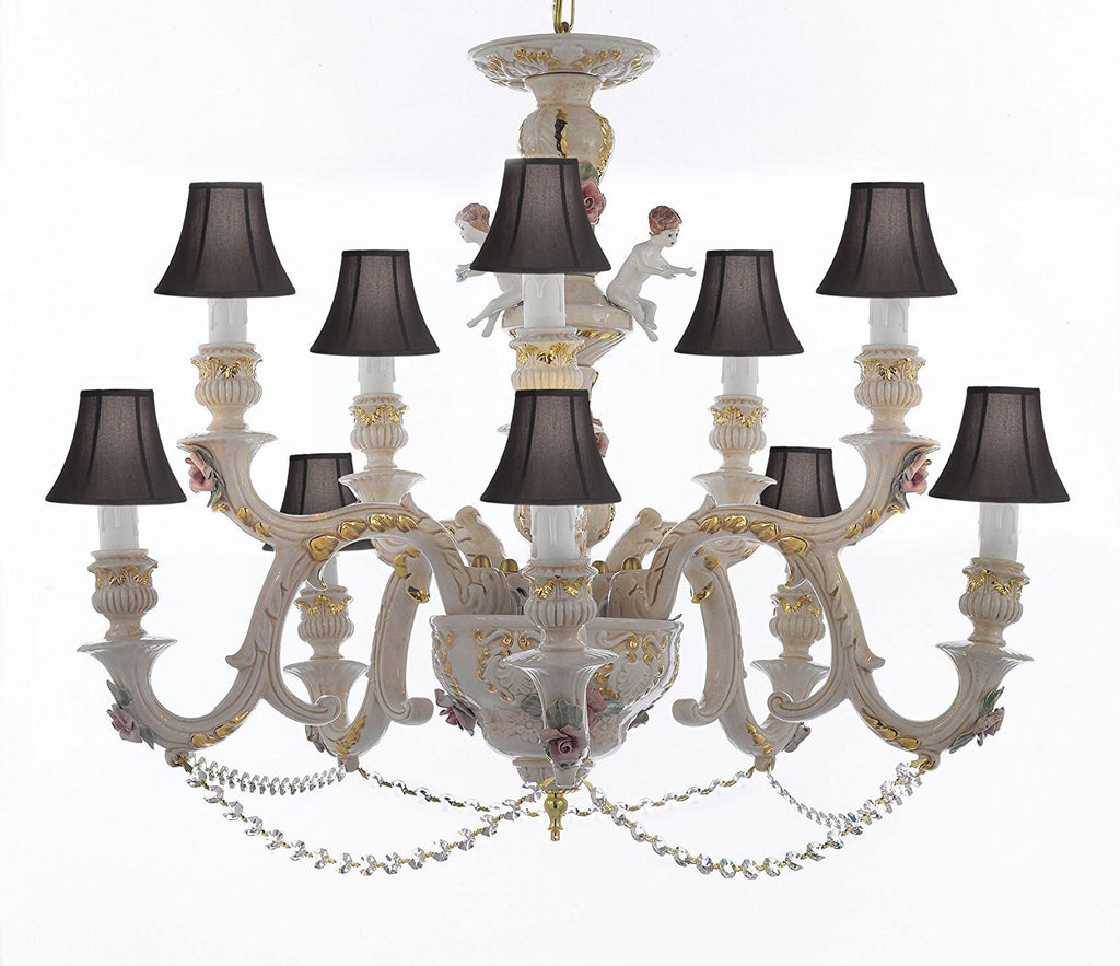 Authentic Capodimonte Porcelain Chandelier Lighting Chandeliers Cottage Chic Made in Italy, Trimmed w/ Roses & Flowers Dressed w/ Crystals With Black Shades - GB102-SC/BLACKSHADES/B52/227/5+5