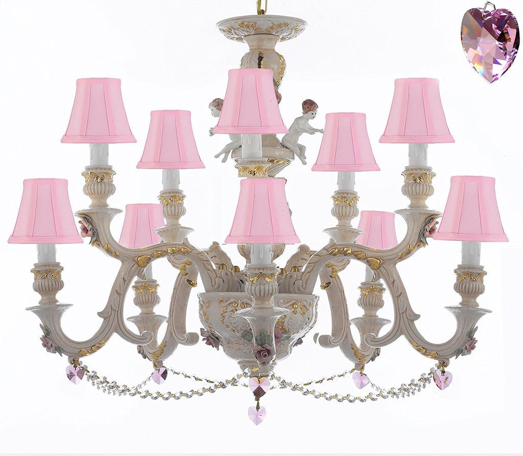 Authentic Capodimonte Porcelain Chandelier Lighting Chandeliers Cottage Chic Made in Italy, Trimmed w/ Roses & Flowers Dressed w/ Crystals and Hearts With Pink Shades - GB102-SC/PINKSHADES/B21/B52/227/5+5