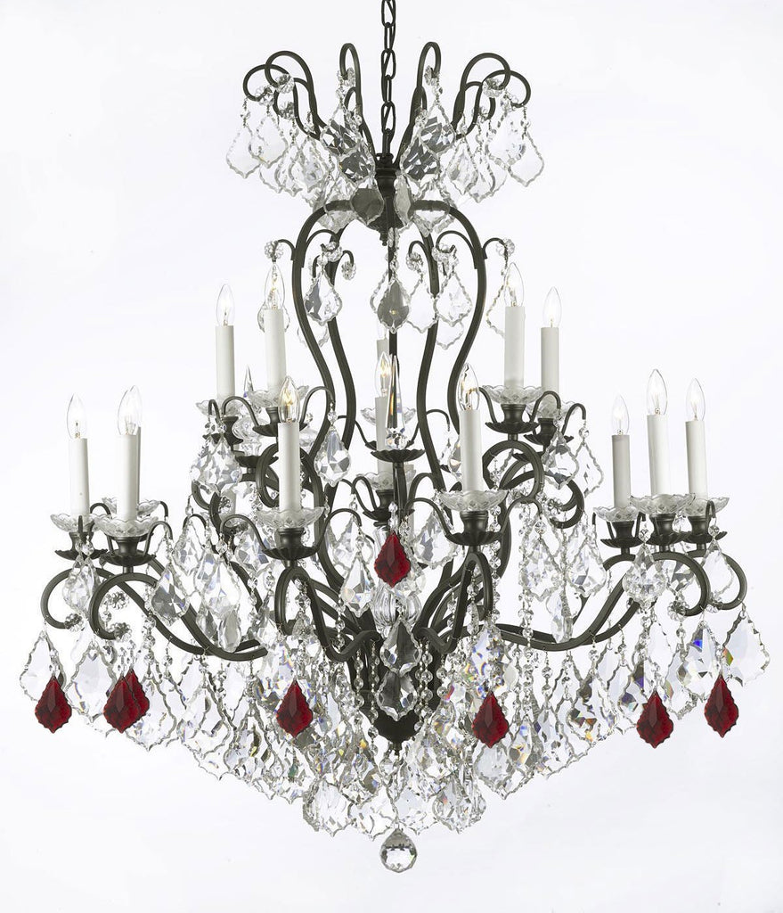 "Wrought Iron Crystal Chandelier Lighting Dressed with Ruby Red Crystals W38"" H44"" - Great for the Dining Room, Foyer, Entry Way, Living Room - F83-B98/556/16"