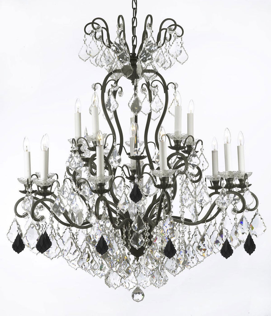"Swarovski Crystal Trimmed Chandelier Wrought Iron Crystal Chandelier Lighting Dressed with Jet Black Crystals W38"" H44"" - Great for the Dining Room, Foyer, Entry Way, Living Room - F83-B97/556/16SW"