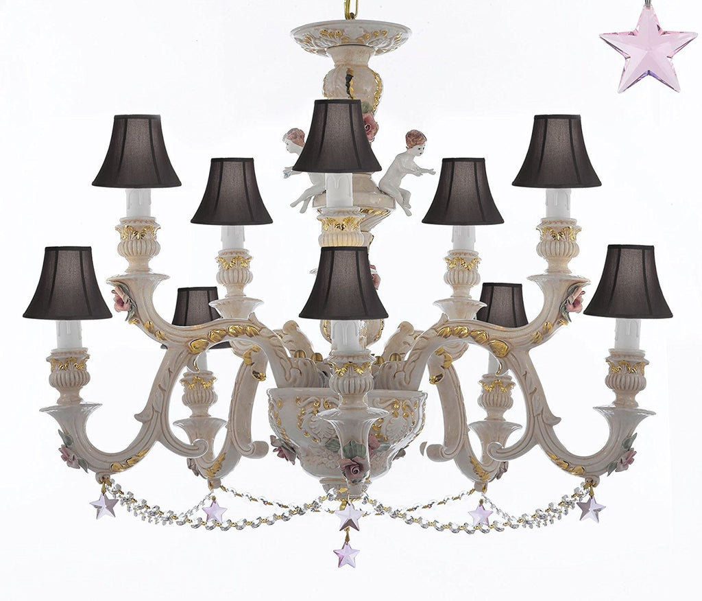 Authentic Capodimonte Porcelain Chandelier Lighting Chandeliers Cottage Chic Made in Italy, Trimmed w/ Roses & Flowers Dressed w/ Pink Stars Crystals With Black Shades - GB102-SC/BLACKSHADES/B38/B52/227/5+5