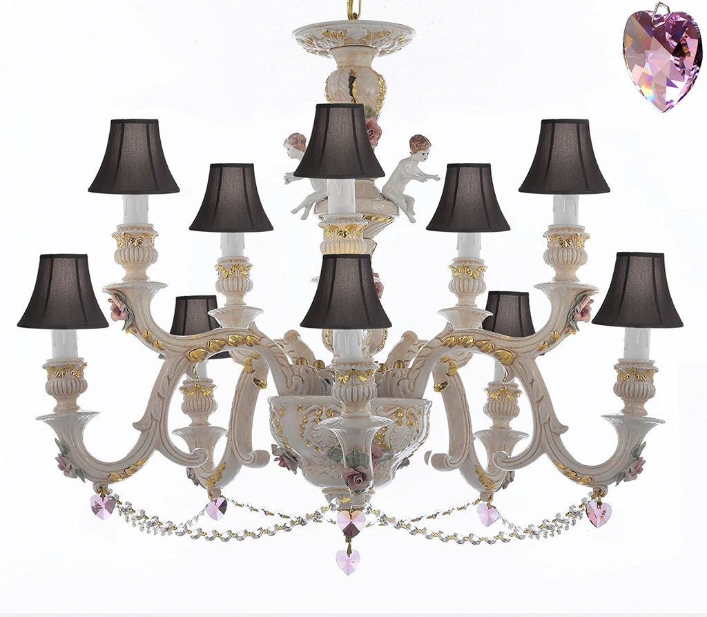 Authentic Capodimonte Porcelain Chandelier Lighting Chandeliers Cottage Chic Made in Italy, Trimmed w/ Roses & Flowers Dressed w/ Crystals and Hearts With Black Shades - GB102-SC/BLACKSHADES/B21/B52/227/5+5