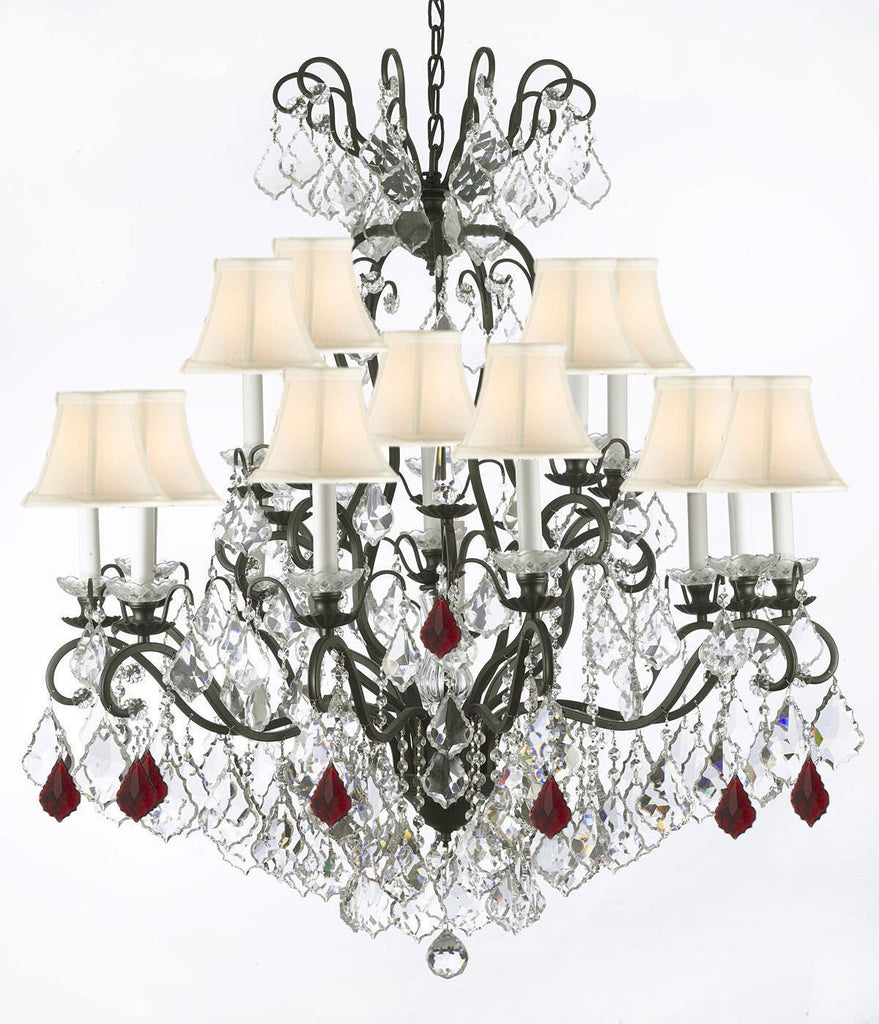 "Wrought Iron Crystal Chandelier Lighting Dressed with Ruby Red Crystals W38"" H44"" - Great for the Dining Room, Foyer, Entry Way, Living Room w/White Shades - F83-B98/556/16/WHITESHADES"