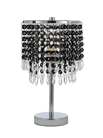 Chrome Round Crystal Bedroom Desk Lamp Table Lamp Bedside Lamp with Black Crystal - T204-SP-106/B87