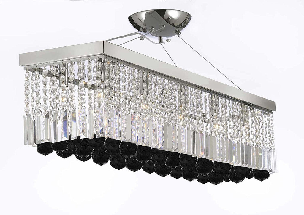 "10 Light 40"" Contemporary Crystal Chandelier Rectangular Chandeliers Lighting with Jet Black Crystal Balls Great for Dining Room, Kitchen, Pool Table and more - G902-B95/1120/10"