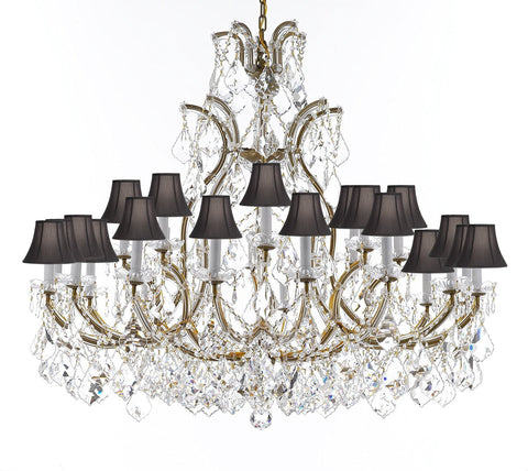 "Crystal Chandelier Lighting Chandeliers H41"" X W46"" Great for the Foyer, Entry Way, Living Room, Family Room and More w/Black Shades - A83-B62/BLACKSHADES/52/2MT/24+1"