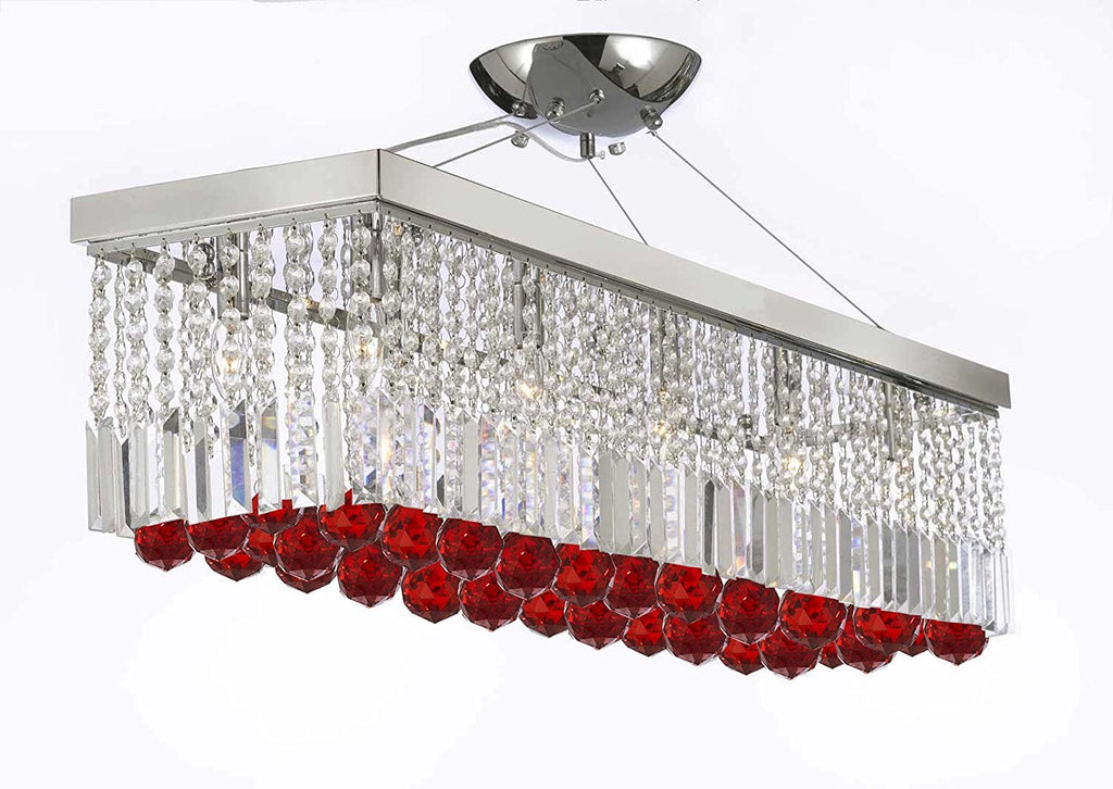 "10 Light 40"" Contemporary Crystal Chandelier Rectangular Chandeliers Lighting with Ruby Red Crystal Balls Great for Dining Room, Kitchen, Pool Table and more - G902-B96/1120/10"