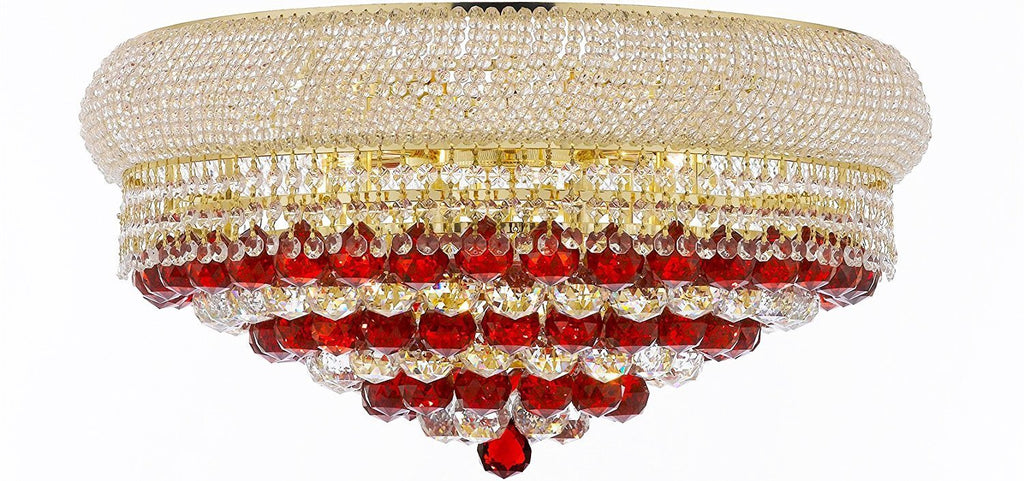 "Swarovski Crystal Trimmed Moroccan Style French Empire Flush Crystal Chandeliers H15"" X W24"" Dressed with Ruby Red Crystal Balls - Good for Dining Room, Foyer, Entryway, Family Room and More - F93-B96/FLUSH/CG/542/15SW"
