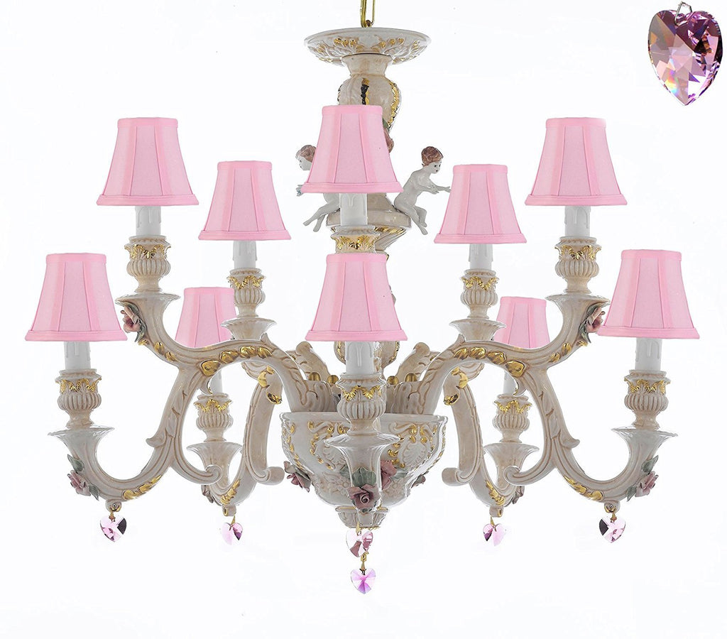 Authentic Capodimonte Porcelain Chandelier Lighting Chandeliers Cottage Chic Made in Italy, Trimmed w/ Roses & Flowers Dressed w/ Pink Hearts Crystals With Pink Shades - GB102-SC/PINKSHADES/B21/227/5+5