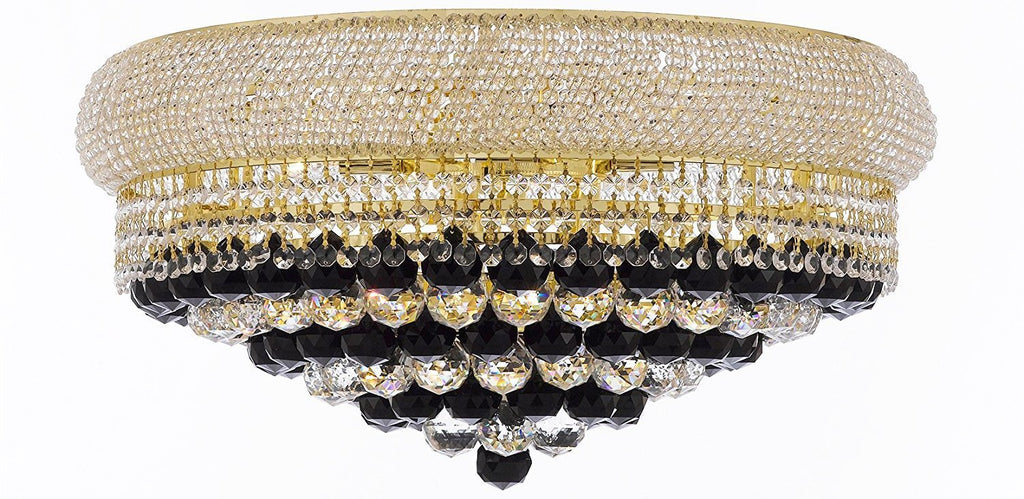 "Swarovski Crystal Trimmed French Empire Flush Crystal Chandelier Chandeliers H15"" X W24"" Dressed with Jet Black Crystal Balls - Good for Dining Room, Foyer, Entryway, Family Room and More - F93-B95/FLUSH/CG/542/15SW"