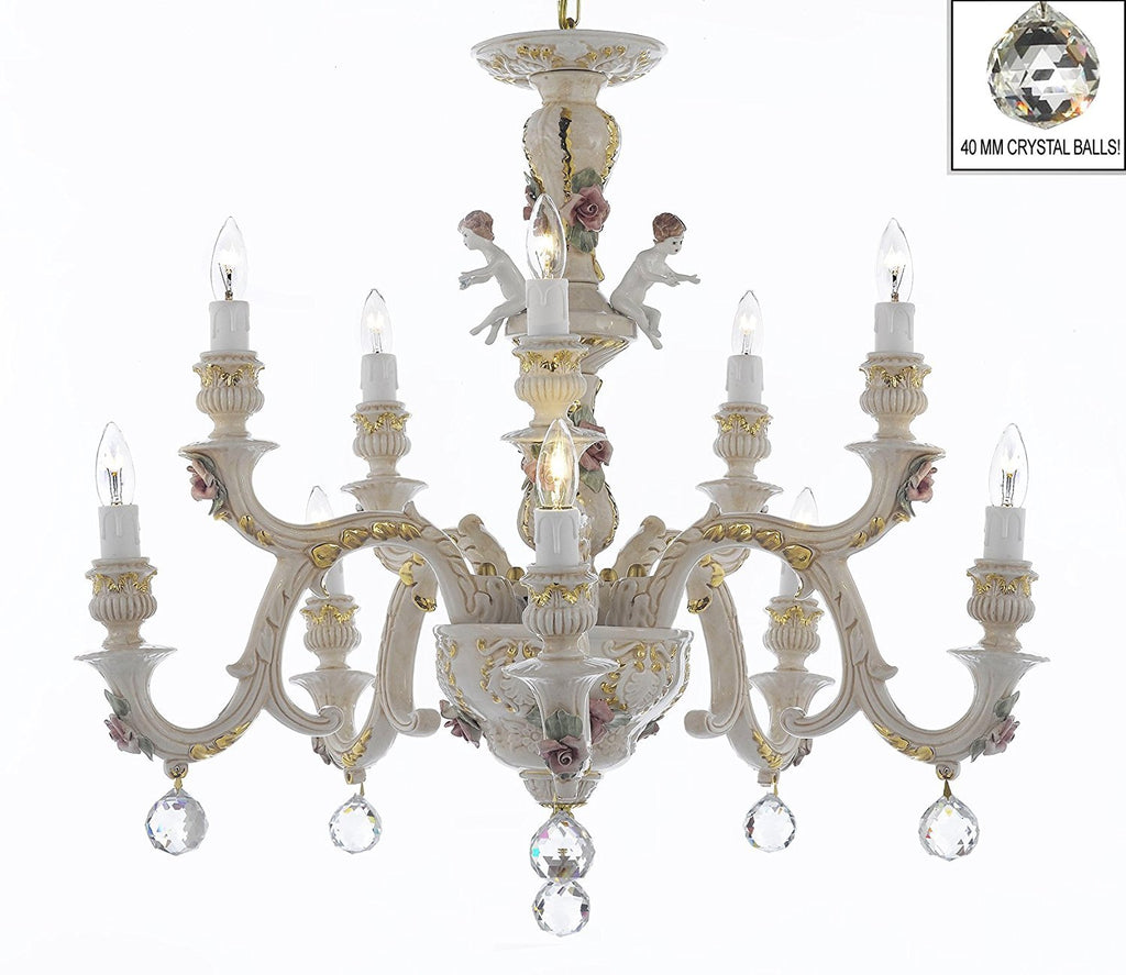 Authentic Capodimonte Porcelain Chandelier Lighting Chandeliers Cottage Chic Made in Italy, Good for Dining Room, Kids & Girls Bedrooms 24K Gold Trimmed w/ Roses & Flowers Dressed w/ Crystals Balls - GB102-B6/227/5+5