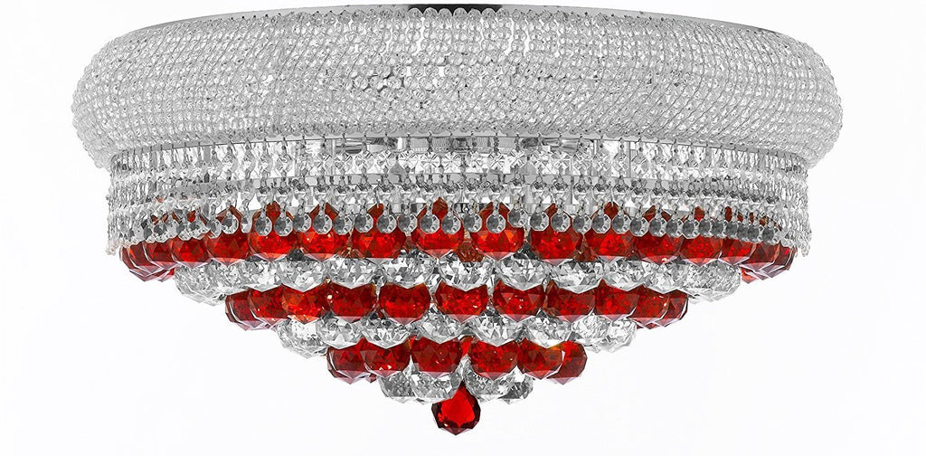 "Swarovski Crystal Trimmed Moroccan Style French Empire Flush Crystal Chandelier H15"" X W24"" Dressed with Ruby Red Crystal Balls - Good for Dining Room, Foyer, Entryway, Family Room and More - F93-B96/FLUSH/CS/542/15SW"