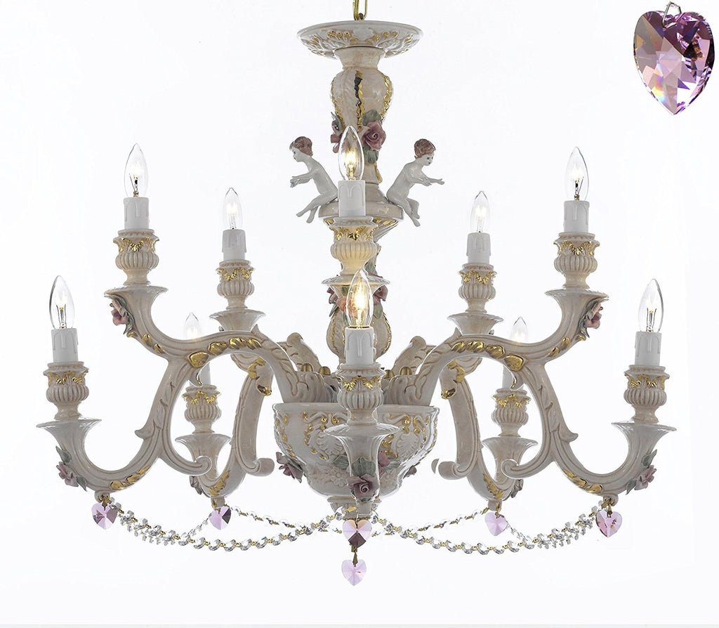 Authentic Capodimonte Porcelain Chandelier Lighting Chandeliers Cottage Chic Made in Italy, Trimmed w/ Roses & Flowers Dressed w/ Crystals and Hearts - GB102-B21/B52/227/5+5