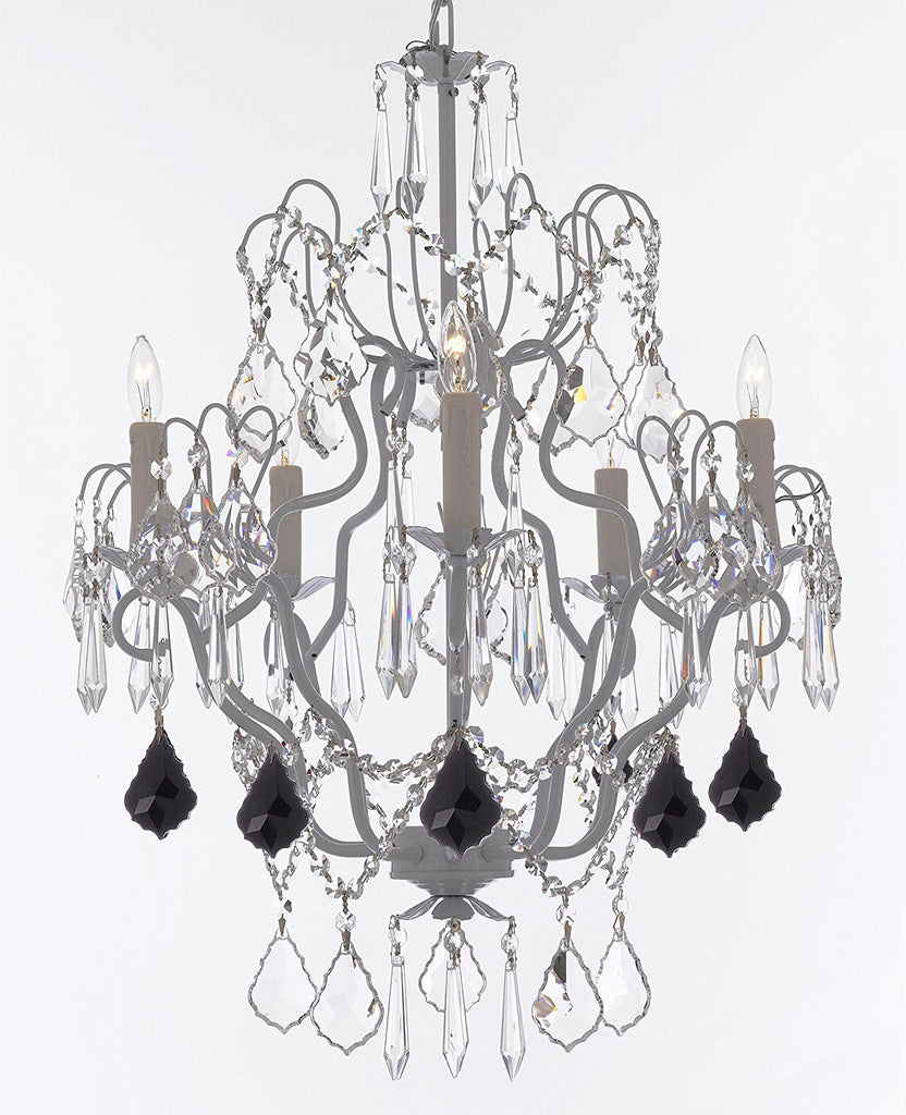 "White Wrought Iron Crystal Chandelier Chandeliers Lighting H27"" x W21"" Dressed with Jet Black Crystal Great for Kitchens, Bathrooms, Bedrooms, Closets, and Dining Rooms - J10-B97/WHITE/26025/5"