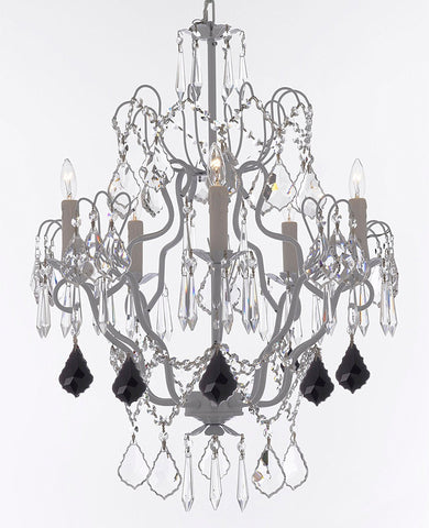 "Swarovski Crystal Trimmed Chandelier White Wrought Iron Swarovski Crystal Trimmed Chandeliers Lighting H27""xW21"" Dressed w/Jet Black Crystal Great for Kitchens, Bathrooms and Dining Rooms - J10-B97/WHITE/26025/5SW"