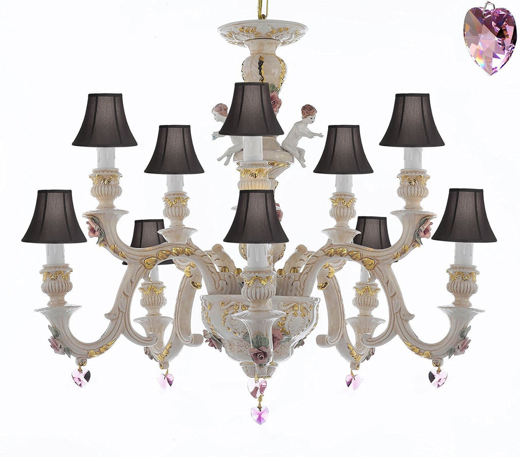 Authentic Capodimonte Porcelain Chandelier Lighting Chandeliers Cottage Chic Made in Italy, Trimmed w/ Roses & Flowers Dressed w/ Pink Hearts Crystals With Black Shades - GB102-SC/BLACKSHADES/B21/227/5+5