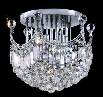 C121-SILVER/8949F/1615 Corona CollectionEmpire Style FLUSH/SEMI-FLUSH CHANDELIER Chandeliers, Crystal Chandelier, Crystal Chandeliers, Lighting