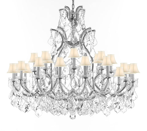 "Crystal Chandelier Lighting Chandeliers H41"" XW46"" Great for the Foyer, Entry Way, Living Room, Family Room and More w/White Shades - A83-B62/CS/WHITESHADES/52/2MT/24+1"