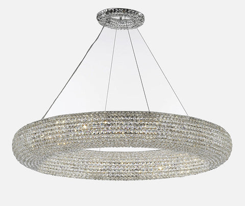 "Crystal Halo Chandelier Modern / Contemporary Lighting Floating Orb Chandelier 52"" Wide - Good for Dining Room, Foyer, Entryway, Family Room and More! - CJD-4156/20"