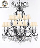 "Swarovski Crystal Trimmed Chandelier Wrought Iron Crystal Chandelier Lighting Dressed with Crystal Balls W38"" H44"" - Great for the Dining Room, Foyer, Entry Way, Living Room w/White Shades - F83-B6/WHITESHADES/556/16SW"