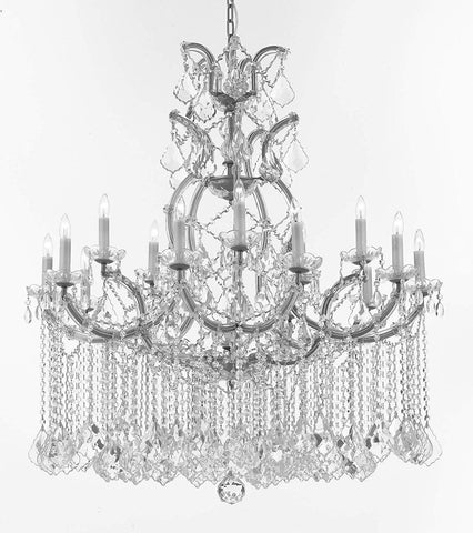 "Maria Theresa Chandelier Crystal Lighting Chandeliers Lights Fixture Ceiling Lamp for Dining Room, Entryway, Living Room H 48"" W 37"" - A83-B112/SILVER/52/21510/15+1"