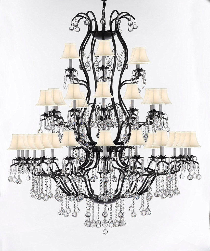 "Swarovski Crystal Trimmed Chandelier Large Wrought Iron Chandelier Chandeliers Lighting With Crystal Balls H60"" x W52"" - Great for the Entryway, Foyer, Family Room, Living Room w/White Shades - A83-B6/WHITESHADES/3031/36SW"