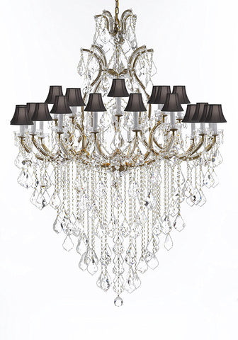 "Crystal Chandelier Lighting Chandeliers H65"" X W46"" Great for the Foyer, Entry Way, Living Room, Family Room and More w/Black Shades - A83-B12/BLACKSHADES/52/2MT/24+1"