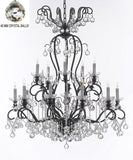 "Wrought Iron Crystal Chandelier Lighting Dressed with Crystal Balls W38"" H44"" - Great for the Dining Room, Foyer, Entry Way, Living Room - F83-B6/556/16"