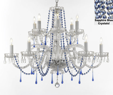 "AUTHENTIC ALL CRYSTAL CHANDELIER CHANDELIERS LIGHTING WITH SAPPHIRE BLUE CRYSTALS PERFECT FOR LIVING ROOM, DINING ROOM, KITCHEN H32"" W27"" - A46-B82/387/6+6"