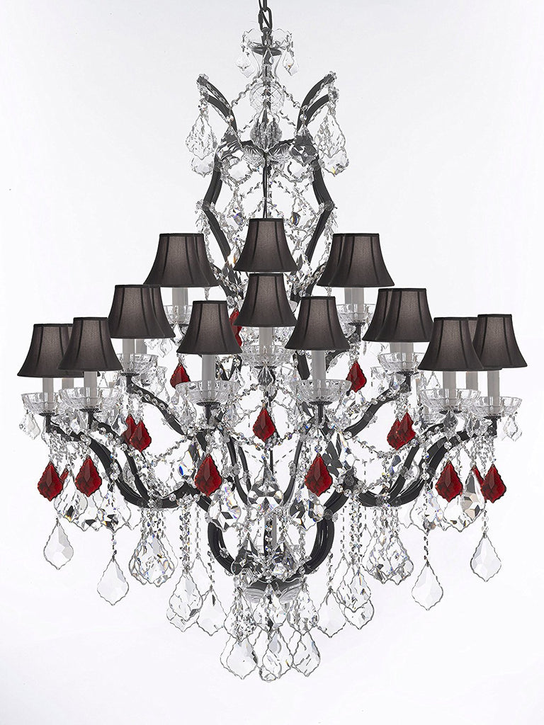 "19th C. Rococo Iron & Crystal Chandelier Lighting Dressed with Ruby Red Crystals H 52"" x W 41"" - Great for the Dining Room, Foyer, Entry Way, Living Room w/Black Shades - G83-B98/BLACKSHADES/996/25"