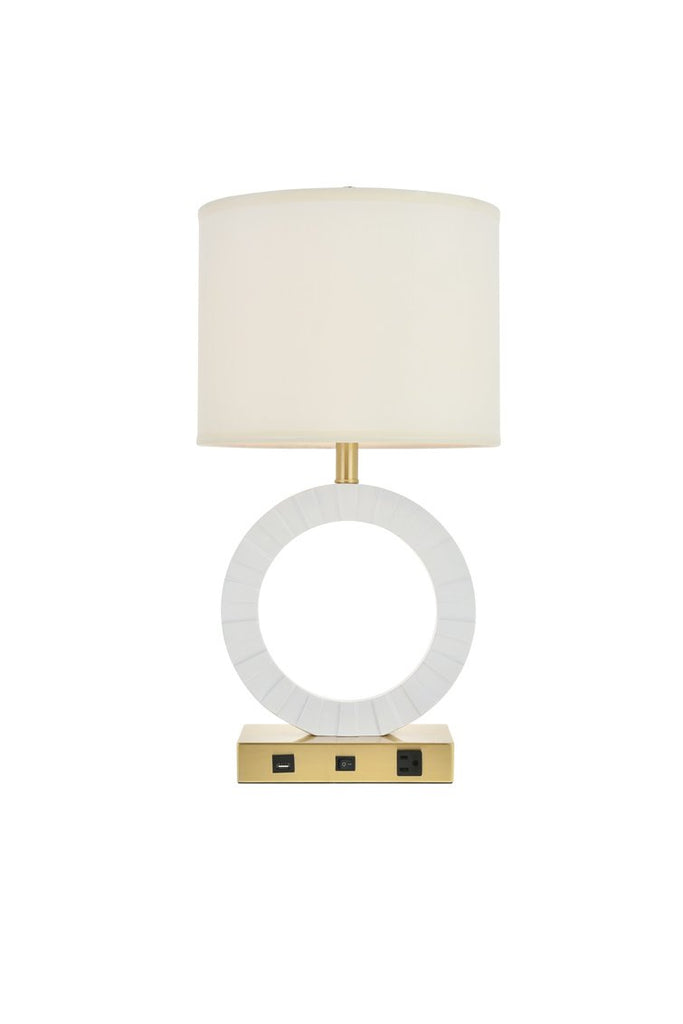 ZC121-TL3002 - Regency Decor: Brio Collection 1-Light Brushed Brass and frosted white Finish Table Lamp