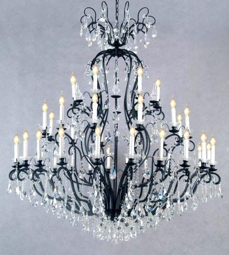 "Swarovski Crystal Trimmed Chandelier! Wrought Iron Crystal Chandelier Chandeliers Lighting H72"" X W60"" - Perfect For An Entryway Or Foyer! - A83-556/41 Sw"