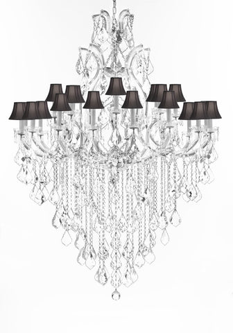 "Crystal Chandelier Lighting Chandeliers H65""X W46"" Great for the Foyer, Entry Way, Living Room, Family Room and More w/Black Shades - A83-B12/BLACKSHADES/CS/52/2MT/24+1"