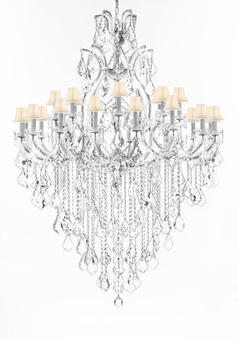 "Crystal Chandelier Lighting Chandeliers H65"" XW46"" Great for the Foyer, Entry Way, Living Room, Family Room and More w/White Shades - A83-B12/WHITESHADES/CS/52/2MT/24+1"