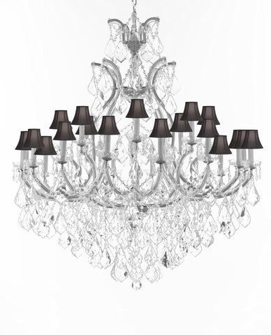 "Crystal Chandelier Lighting Chandeliers H52"" X W46"" Dressed with Large, Luxe, Diamond Cut Crystals Great for the Foyer, Entry Way, Living Room, Family Room and More w/Black Shades - A83-B90/CS/BLACKSHADES/52/2MT/24+1DC"