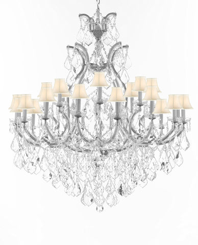 "Crystal Chandelier Lighting Chandeliers H52"" X W46"" Dressed with Large, Luxe, Diamond Cut Crystals Great for the Foyer, Entry Way, Living Room, Family Room and More w/White Shades - A83-B90/CS/WHITESHADES/52/2MT/24+1DC"