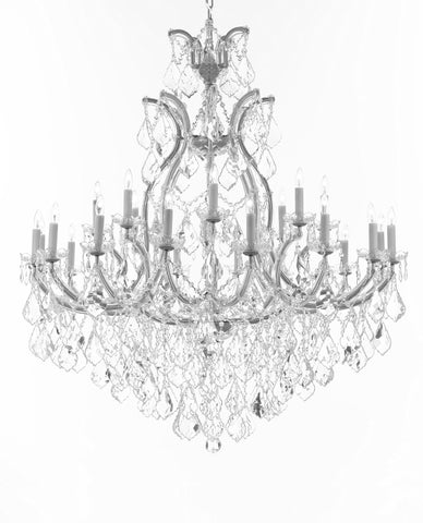 "Crystal Chandelier Lighting Chandeliers H52"" X W46"" Dressed with Large, Luxe, Diamond Cut Crystals Great for the Foyer, Entry Way, Living Room, Family Room and More - A83-B90/CS/52/2MT/24+1DC"