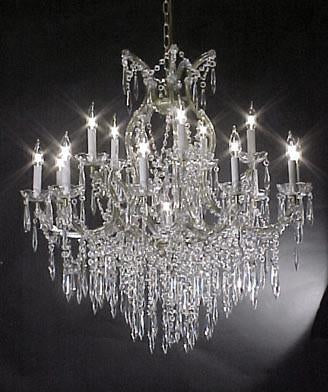 "Maria Theresa Crystal Icicle Waterfall Chandelier Lighting- Great For The Dining Room Foyer Living Room H38"" W37"" - A83-Silver/U1510/15+1"
