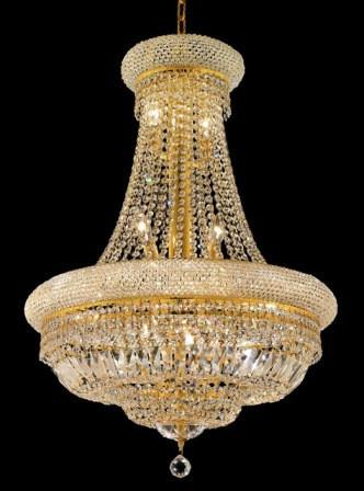 C121-1803D24G/SA By Elegant Lighting Primo Collection 14 Lights Chandelier Gold Finish