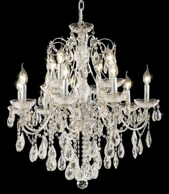 C121-2016D28C/SA By Elegant Lighting St. Francis Collection 12 Lights Chandelier Chrome Finish
