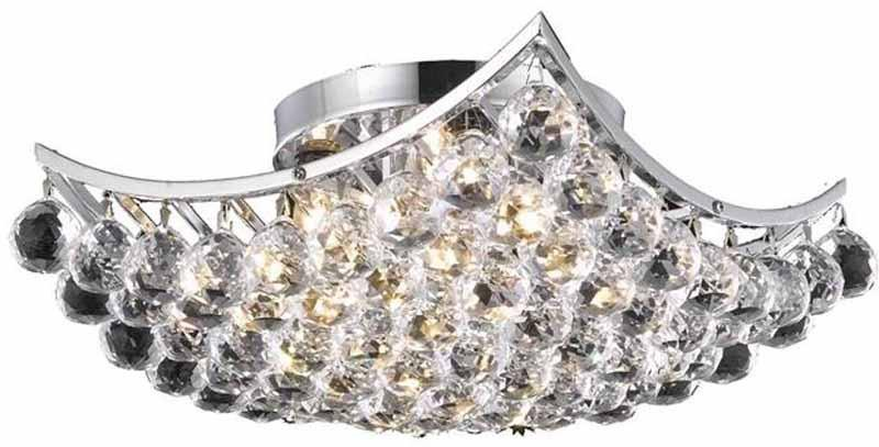 C121-9800F14C/EC By Elegant Lighting - Corona Collection Chrome Finish 4 Lights Flush Mount
