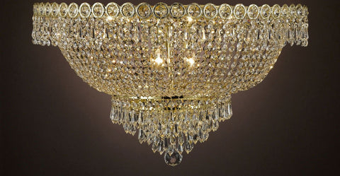 "French Empire Empress Crystal(Tm) Flush Chandelier Lighting H 12""... - Cjd-B39/Flush/Cg/2176/20"